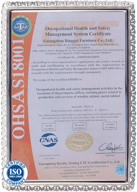 欧野OHSASSI800认证证书